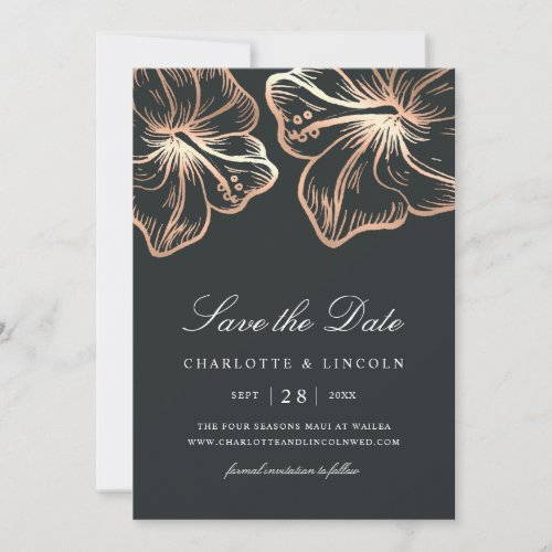 Elegant Copper Hibiscus Flower Wedding Save The Date