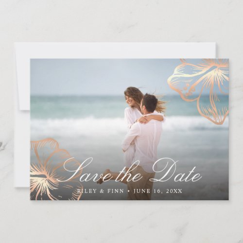 Elegant Copper Tropical Hibiscus Floral Photo Save The Date