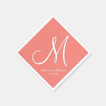 Elegant Coral Pink and White Monogram Paper Napkins