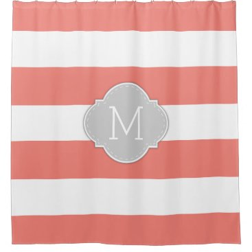 Elegant Coral Pink and White Stripes with Monogram Shower Curtain