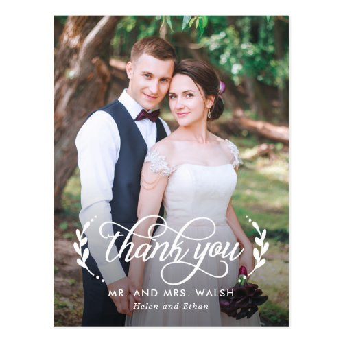 Elegant Couple Wedding Thank You Postcard