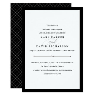 Elegant Couture Black And White Wedding Card