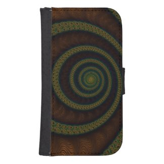 Elegant Cream,Blue Fractal Samsung4 Wallet Case