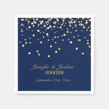 Elegant Custom NAVY BLUE Gold Confetti Wedding Paper Napkin