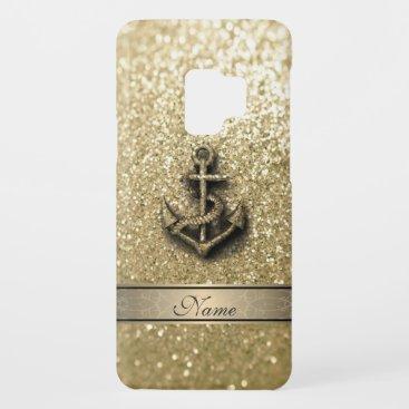 Elegant cute girly faux glitter anchor monogram Case-Mate samsung galaxy s9 case