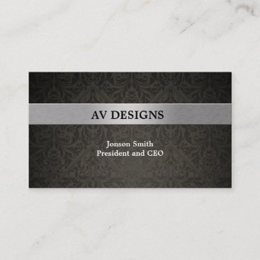 Elegant Damask Black and Silver Business Card