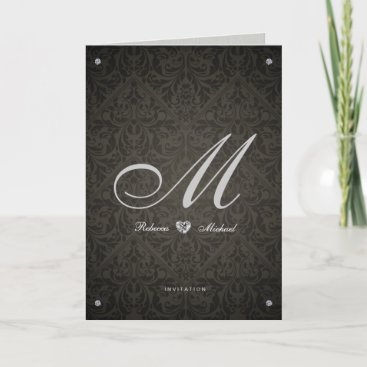 Elegant Damask Diamond Themed Wedding Invitations