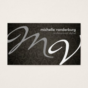 Elegant Damask Monogram Hair Stylist Business Card