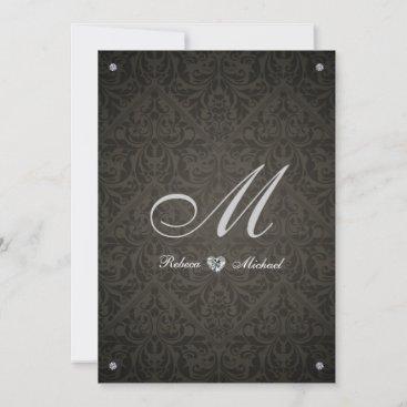 Elegant Diamond Damask Monogram Wedding Invites