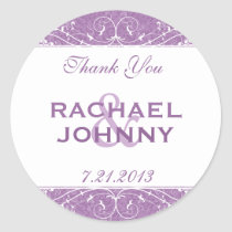 Elegant Distressed Violet Purple Thank You Round Sticker