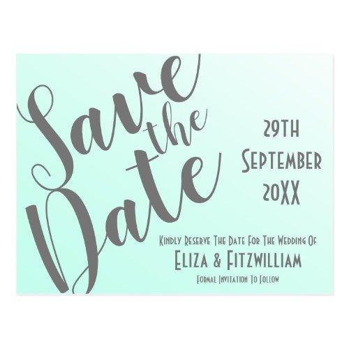 Elegant Fade Mint Green Save The Date Postcard