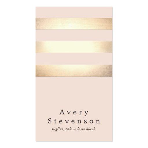 Elegant Faux Gold Foil Striped Modern Light Pink Business Card