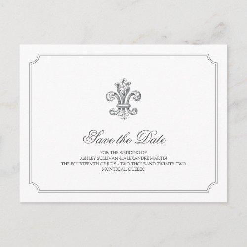 Elegant Fleur de Lis Save the Date 2 Announcement Postcard