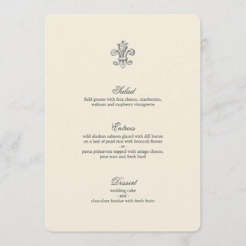 Elegant Fleur de Lis Wedding Menu
