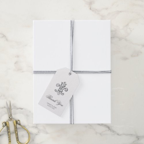 Elegant Fleur de Lis Wedding Thank You 2 Gift Tags