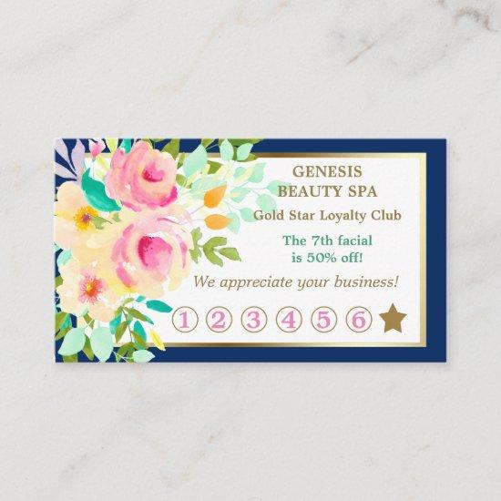Elegant Floral Border Beauty Spa Loyalty Card