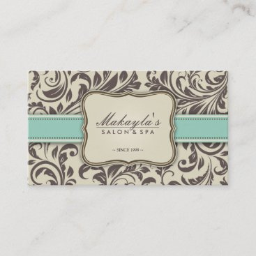 Elegant Floral Damask Modern Brown, Green & Beige Business Card