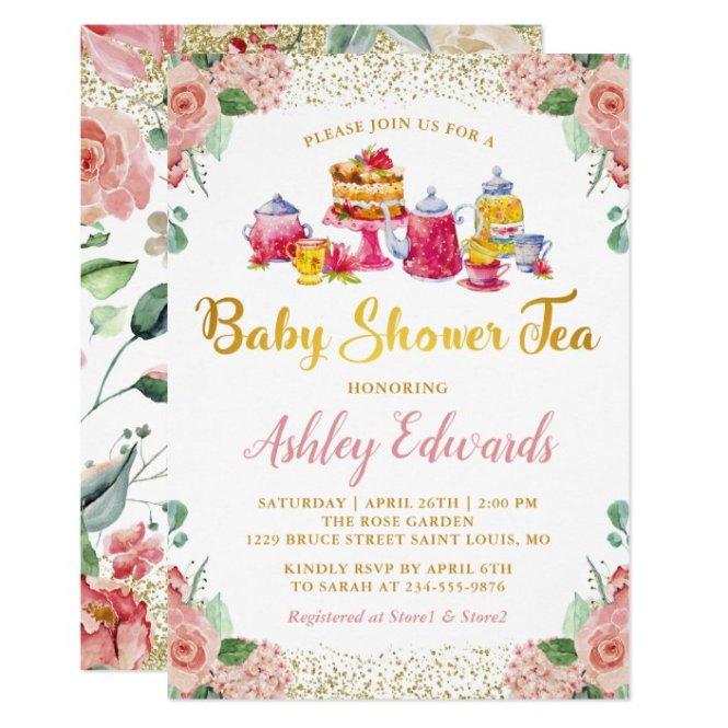 Garden Tea Party Baby Shower Invitation