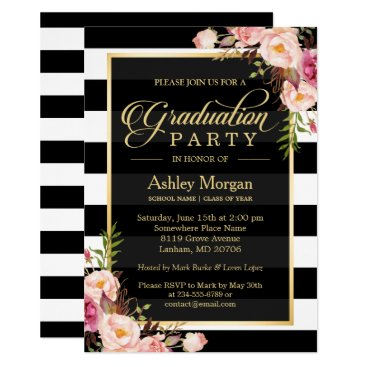 Elegant Floral Gold Black White Stripes Graduation Invitation