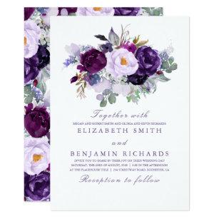 Elegant Fl Purple Watercolors Wedding Invitation