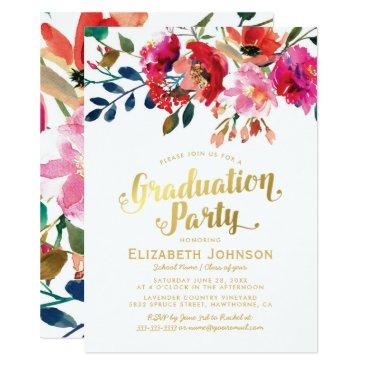 Elegant Floral Watercolor Graduation Party Invitation