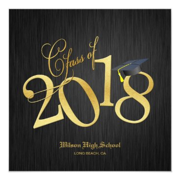 Elegant Funky Gold Class of 2018 Graduation Invitation