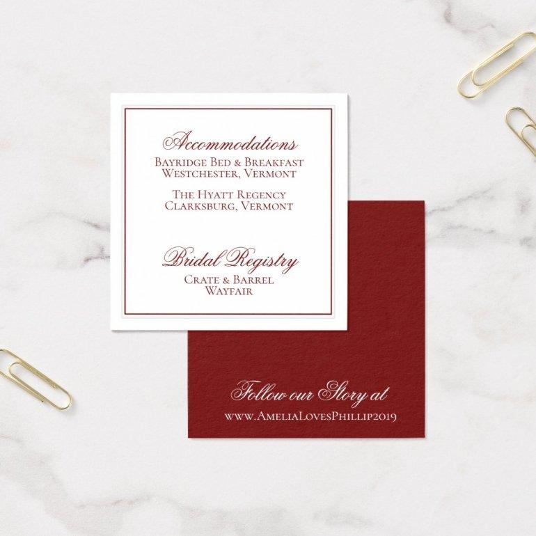 Elegant Garnet Red and White Wedding Details Card