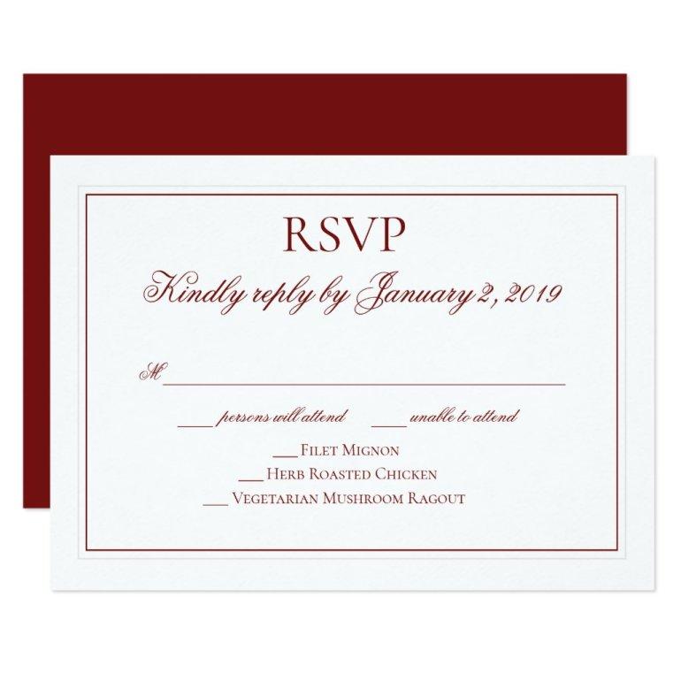 Elegant Garnet Red and White Wedding RSVP Card