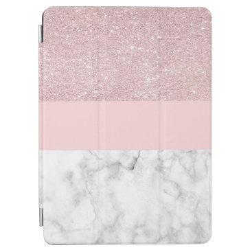 Elegant girly rose gold glitter & white marble iPad air cover