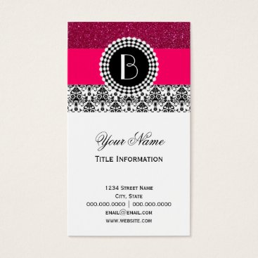 Elegant Glitter and Damask Pattern with Monogram Business Card