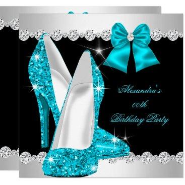 Elegant Glitter Teal Blue High Heels Birthday Invitation