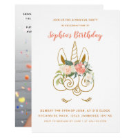 Elegant Glittering Unicorn Floral Birthday Photo Card