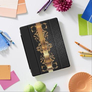 Elegant Gold & Black Damask iPad Smart Cover