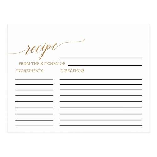 Elegant Gold Calligraphy Bridal Recipe Cards