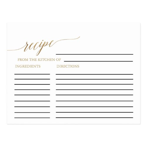 Elegant Gold Calligraphy Bridal Recipe Cards