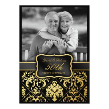 Elegant Gold Damask 50th Wedding Anniversary Invitation