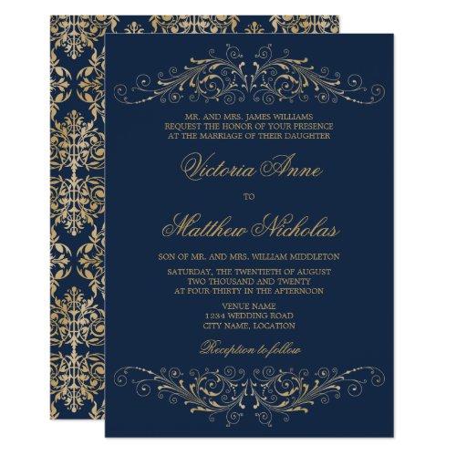 Elegant Gold Flourish Damask Navy Blue Invitation