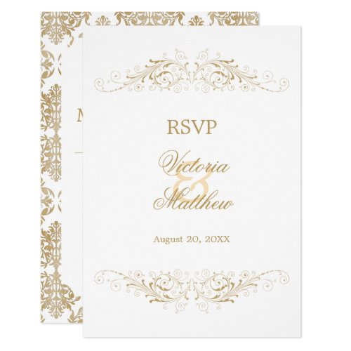 Elegant Gold Flourish Damask RSVP Invitation