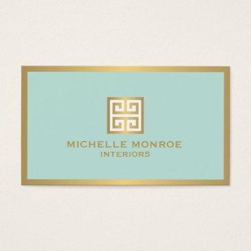 Elegant Gold Greek Key on Mint Interior Designer Business Card