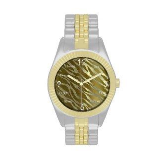 Elegant Gold/Silver Zebra Two-Tone Watch