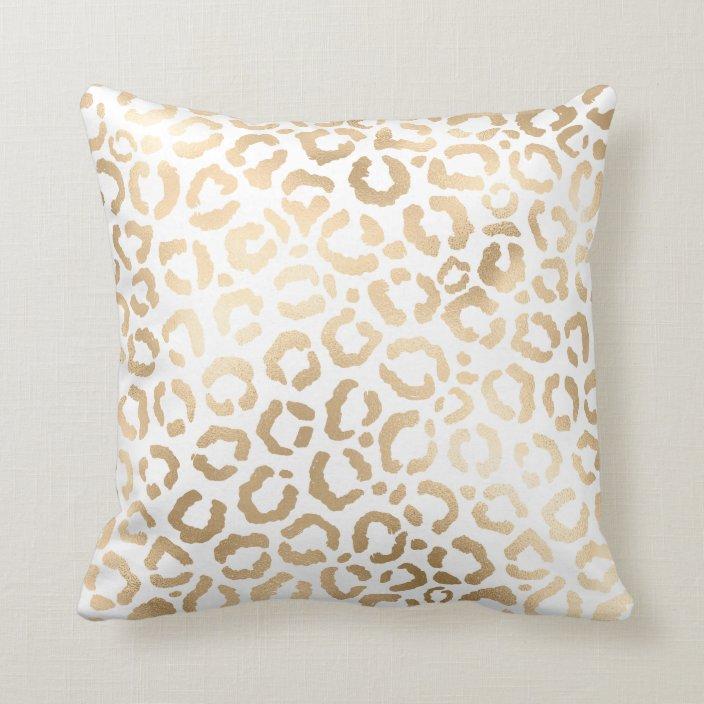 elegant gold white leopard cheetah animal print throw pillow zazzle com