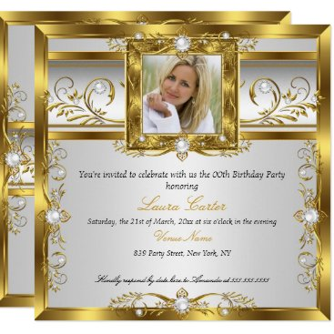Elegant Gold White Pearl Photo Birthday Party Card