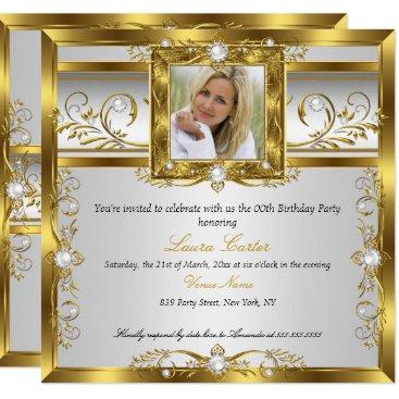 Elegant Gold White Pearl Photo Birthday Party Invitation