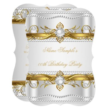 Elegant Gold White Silver Pearl Silk Birthday Card