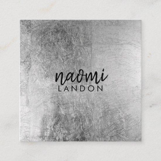 Elegant gray silver modern square minimalist black square business card