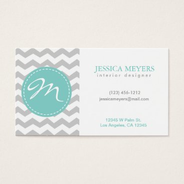 Chevron business cards eatlovepray elegant gray white chevron with monogram business card colourmoves Gallery
