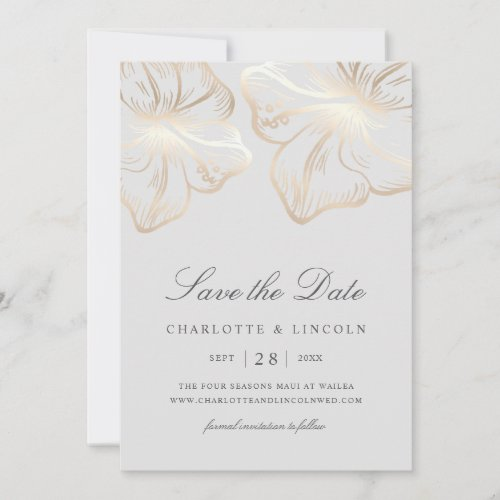 Elegant Grey & Gold Hibiscus Flower Wedding Save The Date