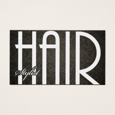 Elegant Hair Damask Stylist Business Cards