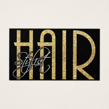 Elegant Hair Stylist - Gold, Black and Silver Business Card