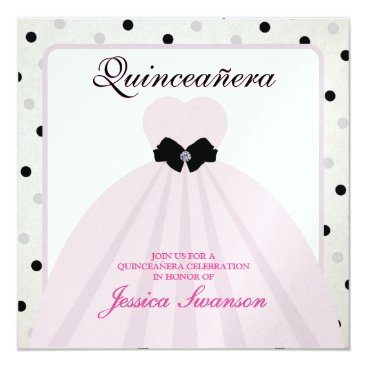 Elegant Lavender Blush and Black Quinceanera Card